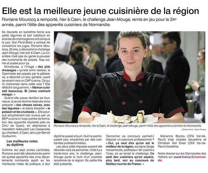 Vainqueur du concours Jean Mouge - BEP cuisine